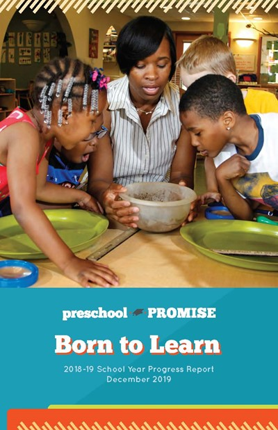 2018-19 Annual Report Cover-Preschool Teacher and Students